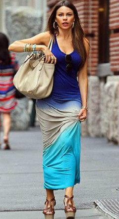 sofia vergara in thai dye blue maxi dress with wedges