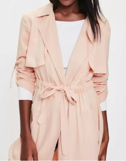 Pink Draw Cord Trench Coat