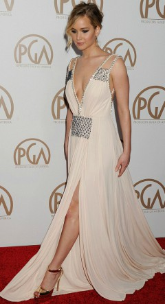 jennifer lawrence grecian style long pink light gown on red carpet