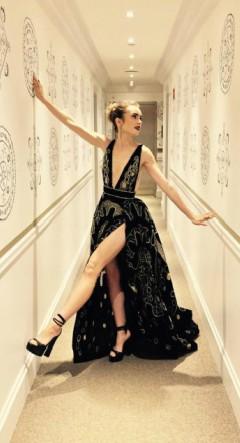Lily Collins red carpet black dress Instagram post