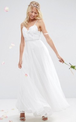 ASOS BRIDAL Embroidered Cami Mesh Maxi Dress