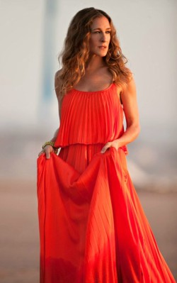 Sarah Jessica Parker coral maxi dress beach setting