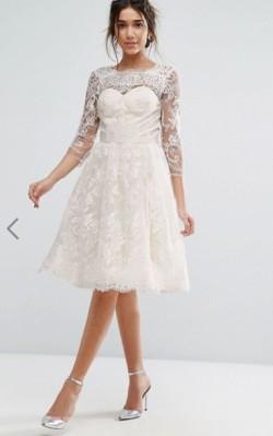 ASOS Chi Chi London Lace Midi Dress With Scallop V Back