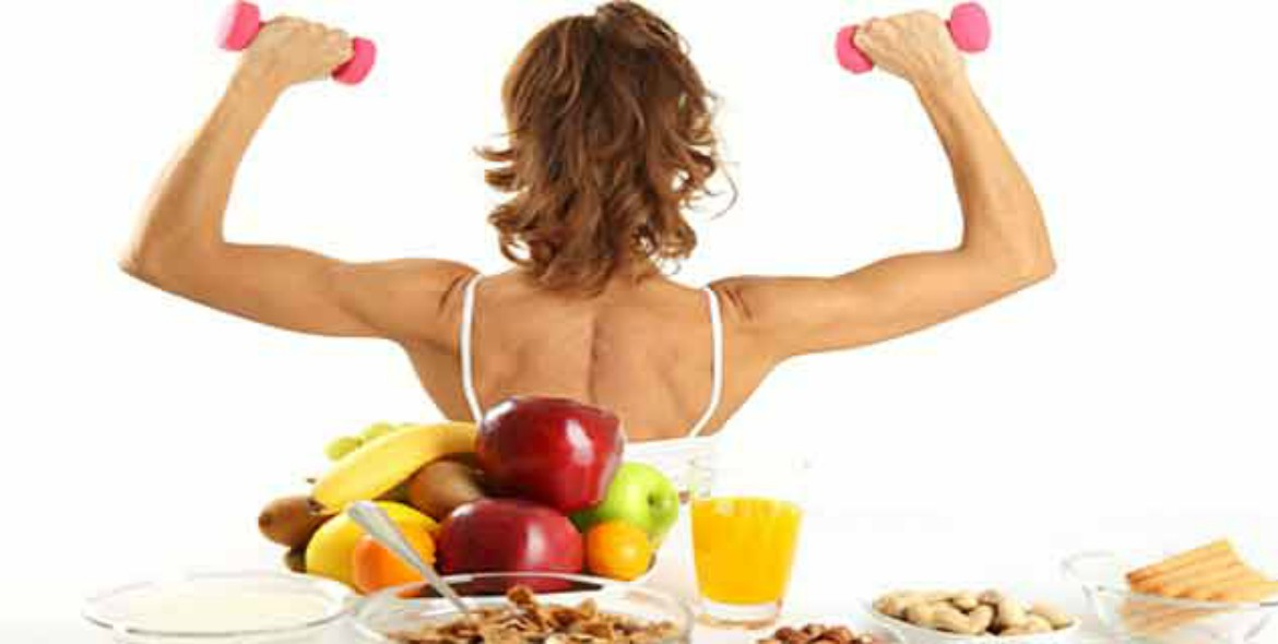 healthy diet fit for exercise with woman lifting weights