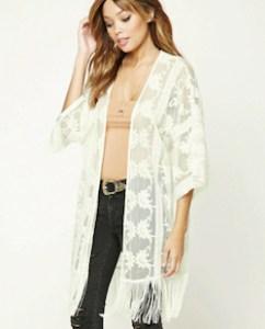 White Fringed Kimono Jacket
