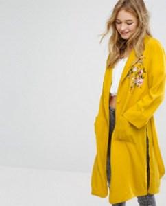 Embroidered Yellow Kimono Coat Jacket