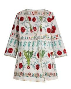 Embroidered White Kimono Jacket