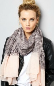New Look Grey Lace Print Contrast Trim Long Scarf