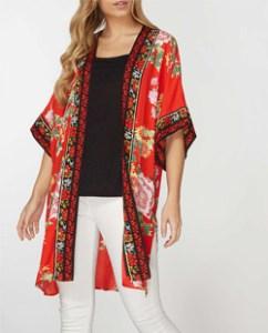 Oriental Print Red Kimono Jacket