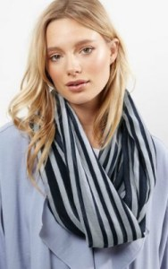 Navy Stripe Snood New Look
