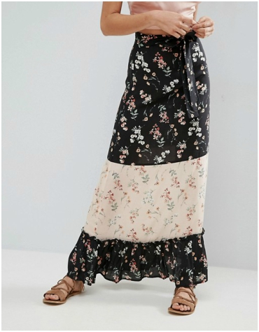 ASOS Maxi Skirt in Mix and Match Print