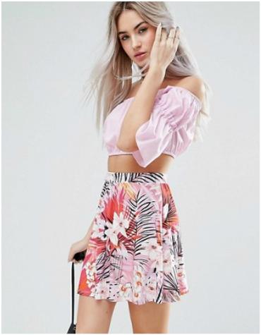 ASOS Petite Tropical Print Skater Skirt