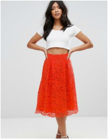 ASOS Warehouse Orange Scallop Hem Lace Skirt