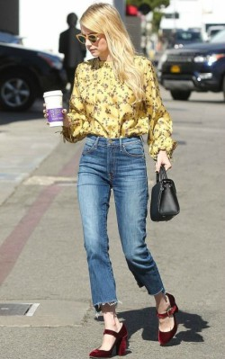 Emma Roberts boho inspiration yellow boho shirt and jeans
