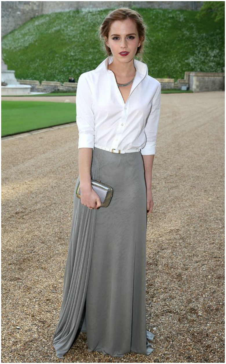 Emma Watson grey maxi skirt white shirt