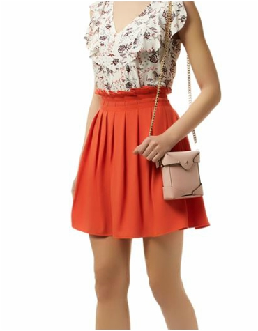 Harrods Claudie Pierlot Orange Pleated Skirt