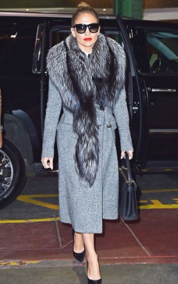 Jennifer Lopez grey coat, sunglasses and fur scarf