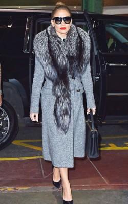 Jennifer Lopez grey coat, sunglasses and fur scarf