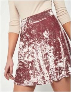 Miss Selfridge Pink Velvet Skater Skirt