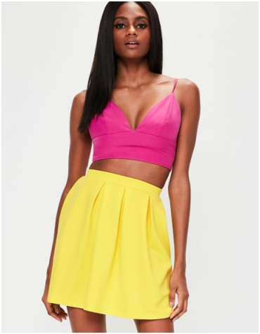 Missguided Yellow Scuba Skater Skirt