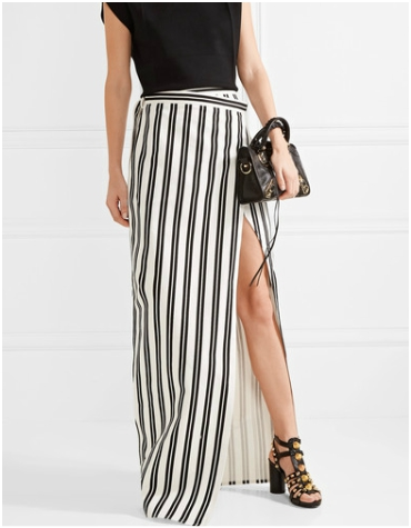 Net-a-Porter Balenciaga Striped Cotton-Twill Wrap Skirt