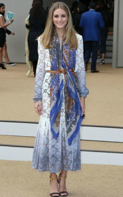 Olivia Palermo event,, long maxi-dress with blue scarf