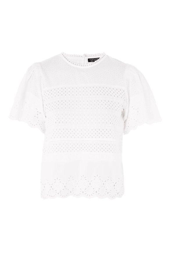 White Broderie Ruffle Sleeve T-Shirt