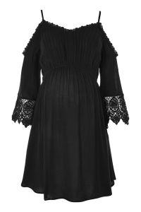 MATERNITY Cold Shoulder Broderie Dress