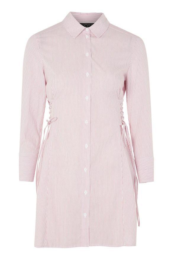 Pink Stripe Corset Shirt Dress