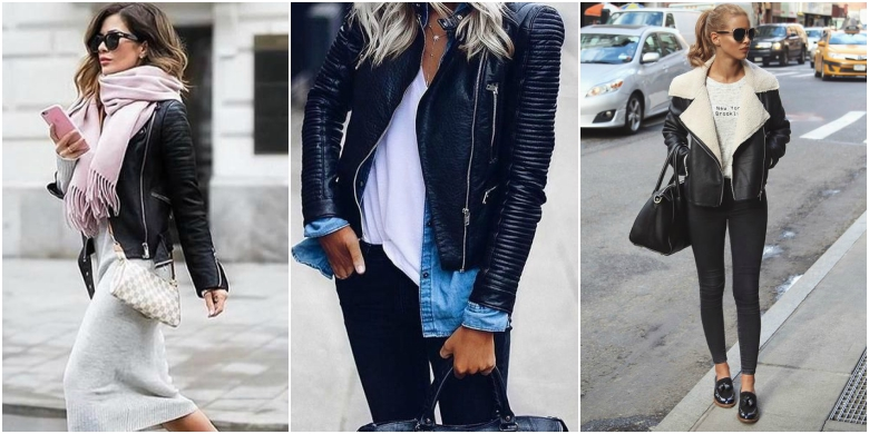 Black leather jacket body con dress scarf white t-shirt denim shirt black jeans aviator leather jacket