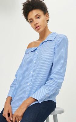 12 Pieces for a Hepburn-inspired Wardrobe - Mango TALL Stripe Off Shoulder Shirt - $55.00