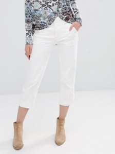 White cropped wide leg jeans