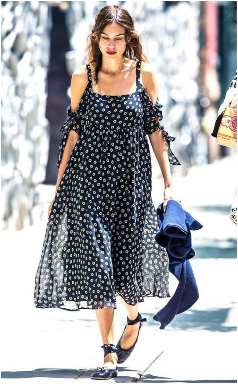 Alexa Chung floaty patterned cold shoulder maxi dress