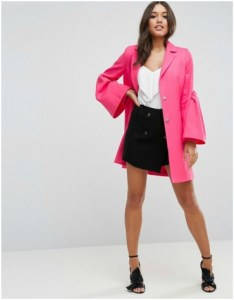 ASOS Fuchsia Occasion Coat with Statement Sleeve