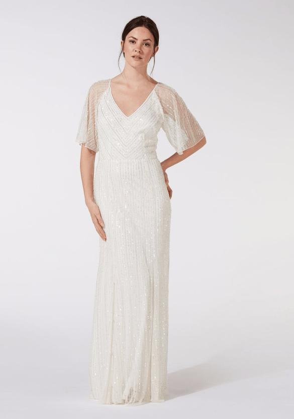 Debenhams Debut - Ivory embellished 'Joy' v-neck wedding dress