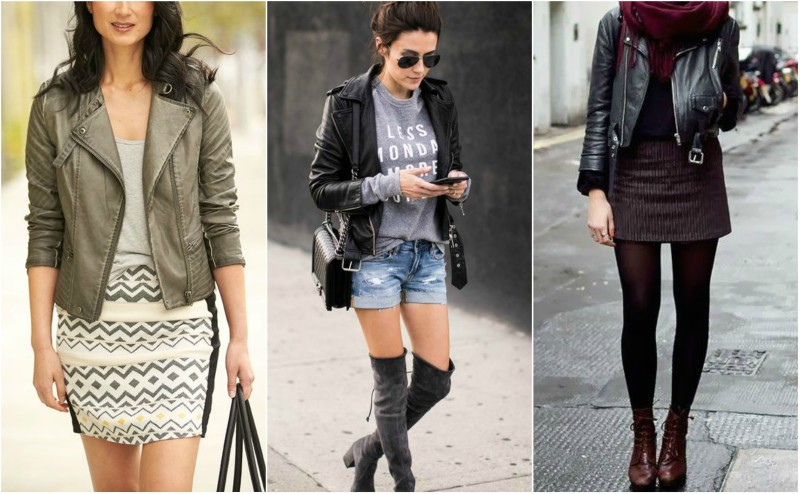 how to wear a leather jacket with shorts or mini skirt