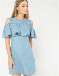 Miss Selfridge Petite Ruffle Denim Dress