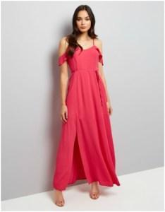 New Look pink frill scrappy cold shoulder maxi dress