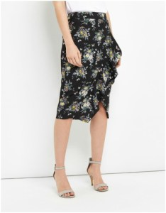 Oasis Ruffle Floral Pencil Skirt