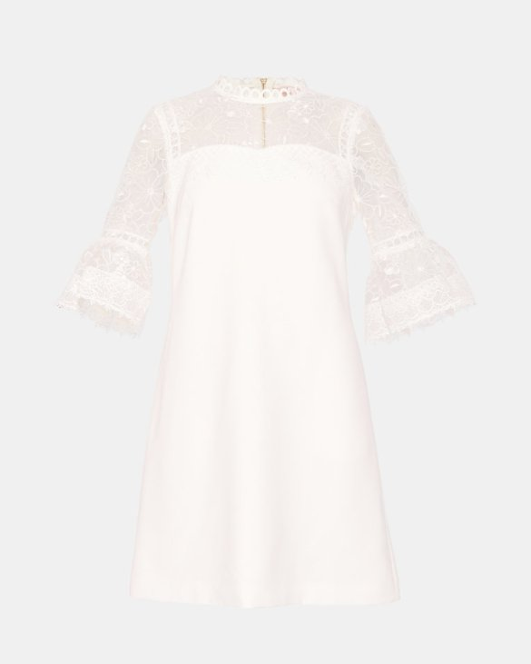 Ted Baker RAECHAL - Lace peplum dress Ivory