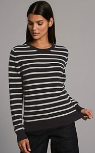 Marks and Spencer Autograph Pure Cashmere Striped Round Neck Jumper - £85 in black and white shop