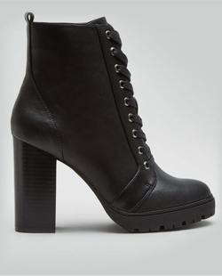 New Look Black Block Heel Lace Up Biker Boots