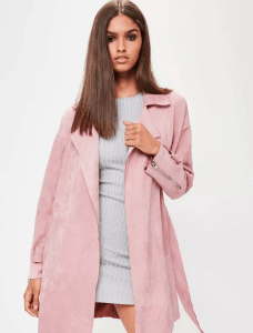 ASOS pink faux suede belted trench coat