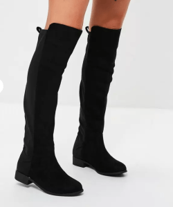 Black Contrasting Material Knee High Flats