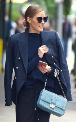 olivia palermo wearing classic black blazer