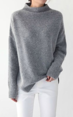 Grey oversized cashmere sweater/ jumper with loose neck styled with white jeans - shop the look