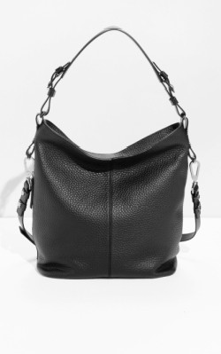&OtherStories Grain Leather Hobo - black handbag