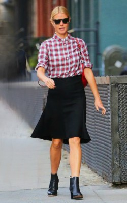 Gwyneth Paltrow street style check shirt, back skirt and chelsea boots - shop the look