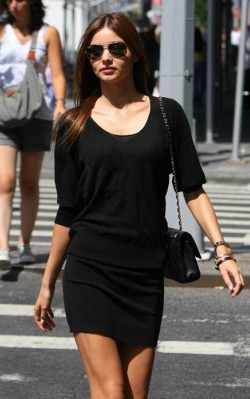 Miranda Kerr street style little black dress and black bag with sunglasses - shop the look