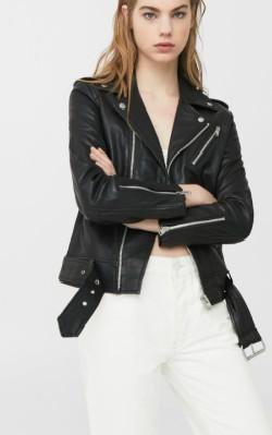 Mango Leather biker jacket - notched lapels